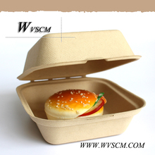 Biodegradable fiber pulp disposable hamburger container