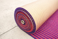 Car Decoration car coil floor fender carpet wholesale coil mat in roll stripes series- red purple double layered