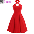 New design Halter Neckline Banded Neck Party Evening Dress with Button L362051-1