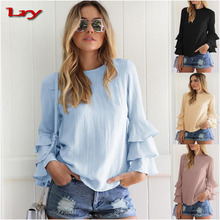 Women Blouses Shirts 2017 Autumn Elegant Ladies O-Neck Flounce Long Sleeve Blusas Loose Tops