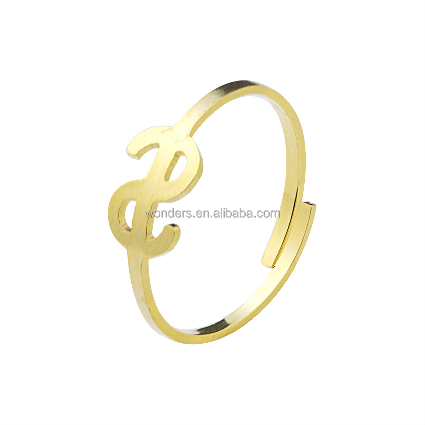 Dollar Sign Hip Hop Ring Stainless Steel Rings Jewelry Women Girls Gifts