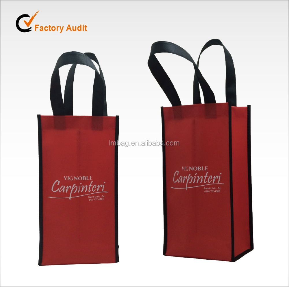 Useful recycle non woven 2 bottles wine gift bag