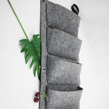 Cheap 5 Pockets Felt Vertical Wall Garden Planter Hanging Growing Bag for Flower Vegetable