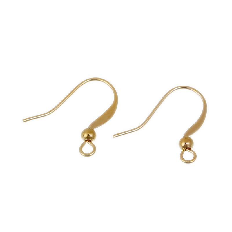 Copper Ear Wire Hooks Earring Findings Gold Plated W/ Loop Earring Handmade