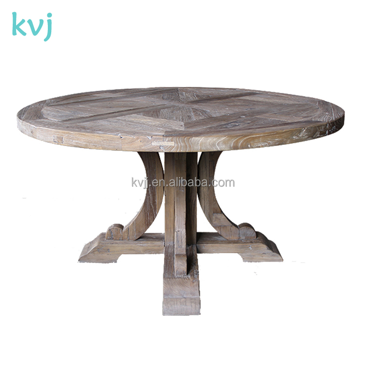 KVJ-7246 vintage old elm wood round carved dining table