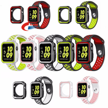 Dual Color Sport RubberWatch Band /Case for Apple Watch Series 3/2/1 Strap Wristband