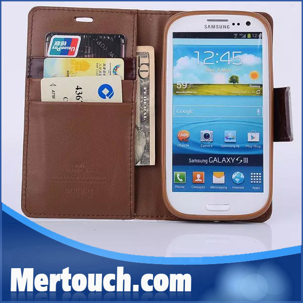 Mercury Rainbow leather flip wallet 2 card slots cell phone case for Samsung galaxy Note 3 with retial plastic package