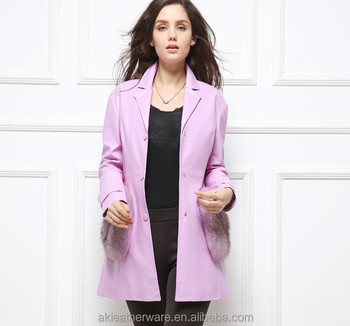 Wholesale Women Pink Long Leather Jacket