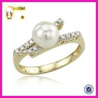 sterling silver covered with yellow gold pearl pearl ring settings, cultured pearl napkin rings