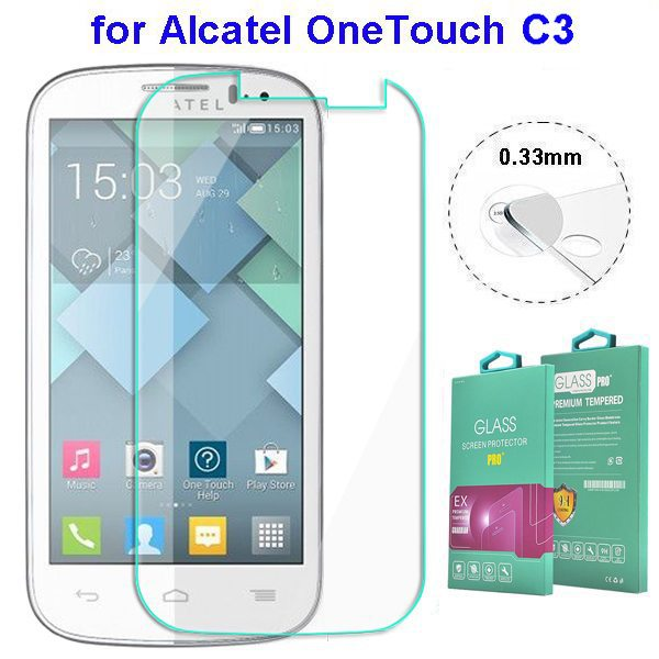 Wholesale price 2.5 Degree 0.33MM screen protector for Alcatel One Touch Pop C3