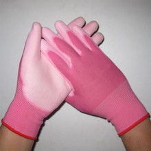 antistatic pu glove pink color