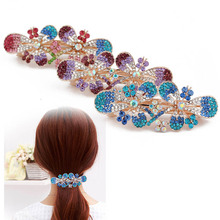 New style fashionable metal alloy crystal spring korean hair clip