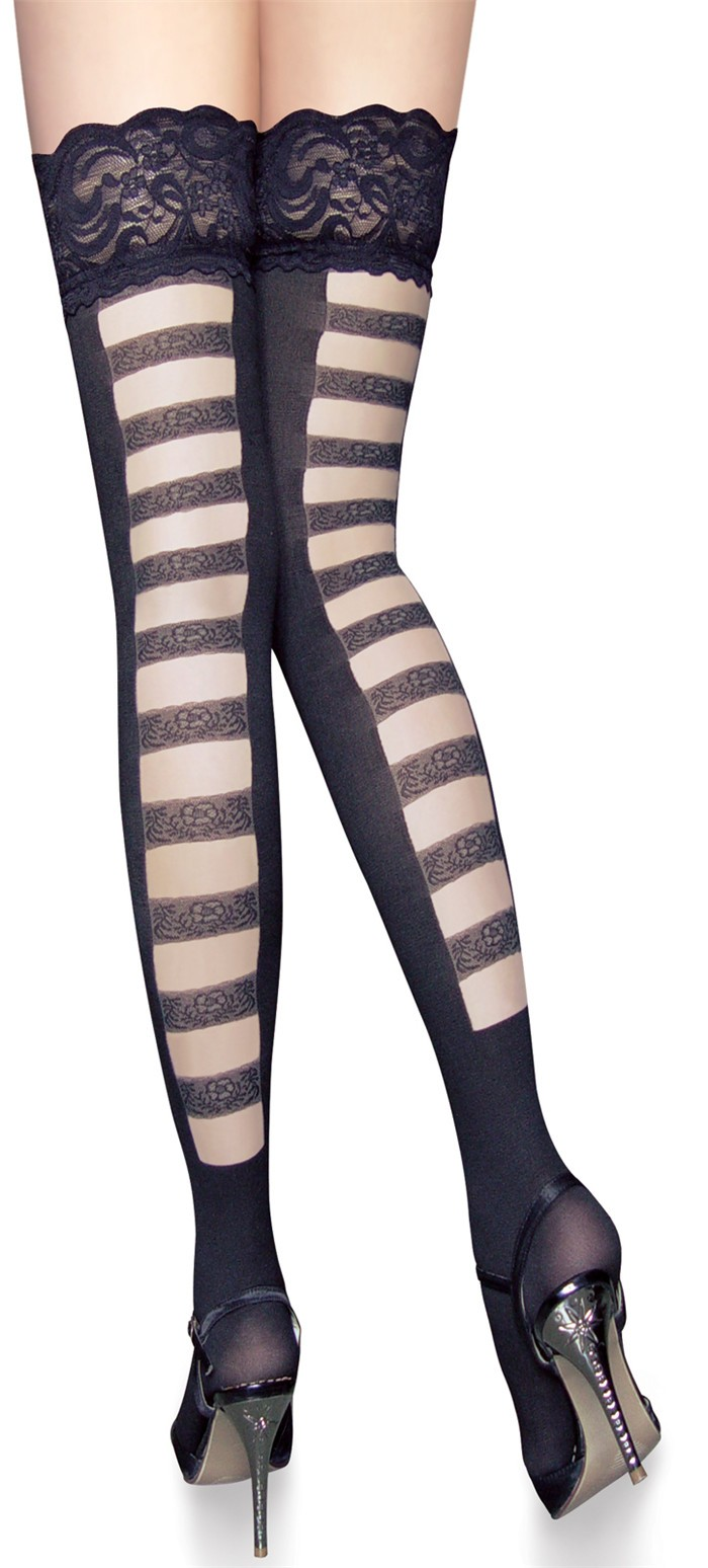Women's Lace silicone Top Thigh High Silk Stockings