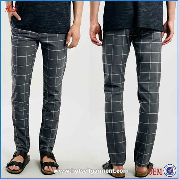 Chinese oversized stretch skinny chinos pants with check jogger pants