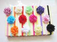 Bulk 2015 Fancy Kids 12 Color Flower Elastic Hair Band Baby chiffon Headband Flower Wholesale