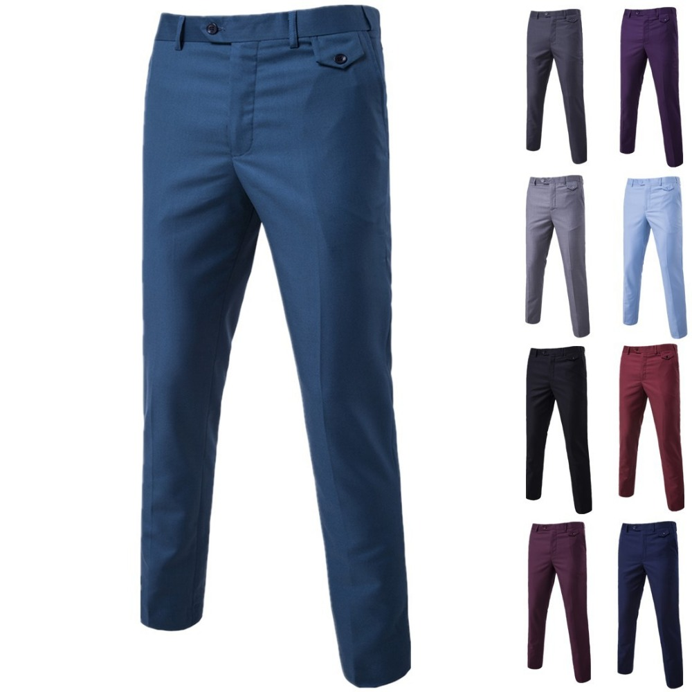 New Men's classical Fashion Solid Color Business Casual Dress Pants with wholesale price