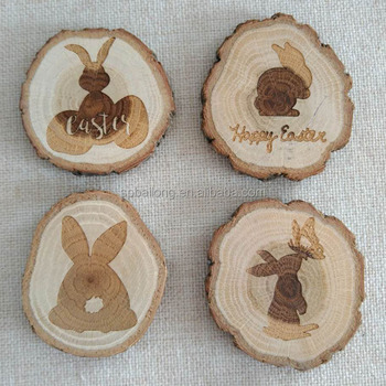 wood slice decoration laser engraved fridge magnet