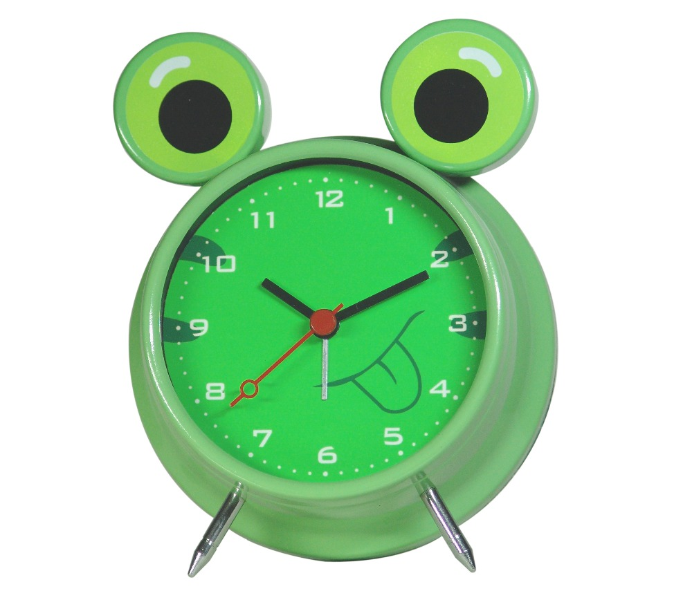 Metal decorative anolog frog shape animal table clock