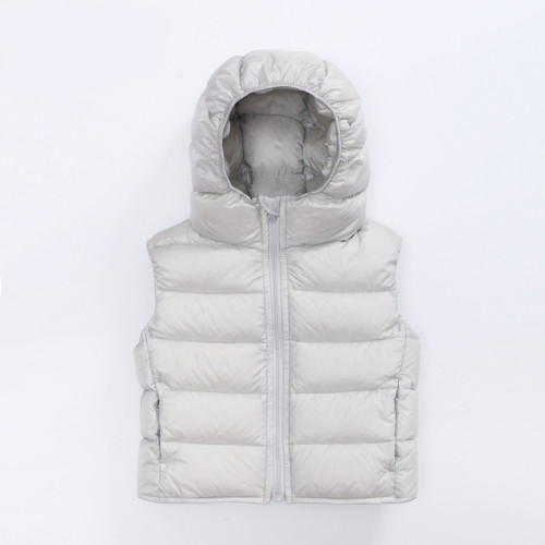soft kids padding vest for winter with leather down