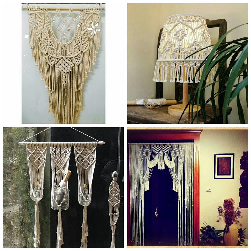W1367 new Hanger with Wood Planter Floating Shelf Cotton Wall Hanging Plant Macrame Shelf Hanging Planter