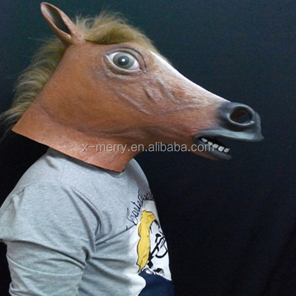 X-MERRY Latex Rubber Horse Head Mask Creepy Halloween Costume Gangnam Style Dance Prop