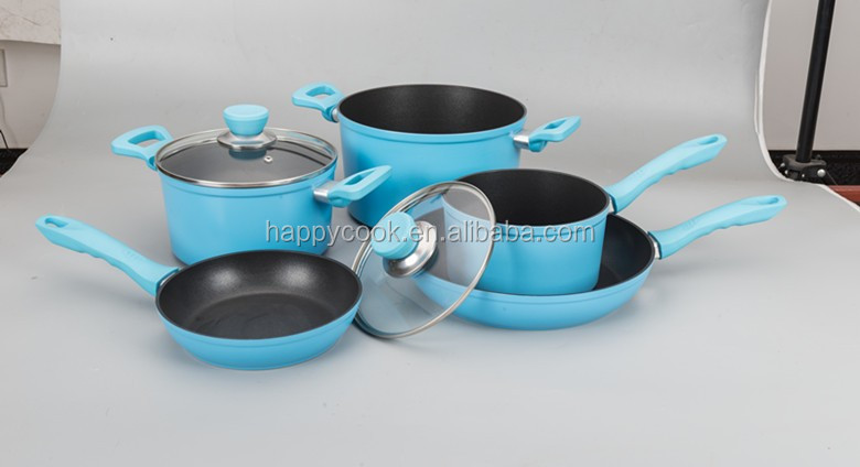Aluminium beautiful blue nonstick 7pc cookware set