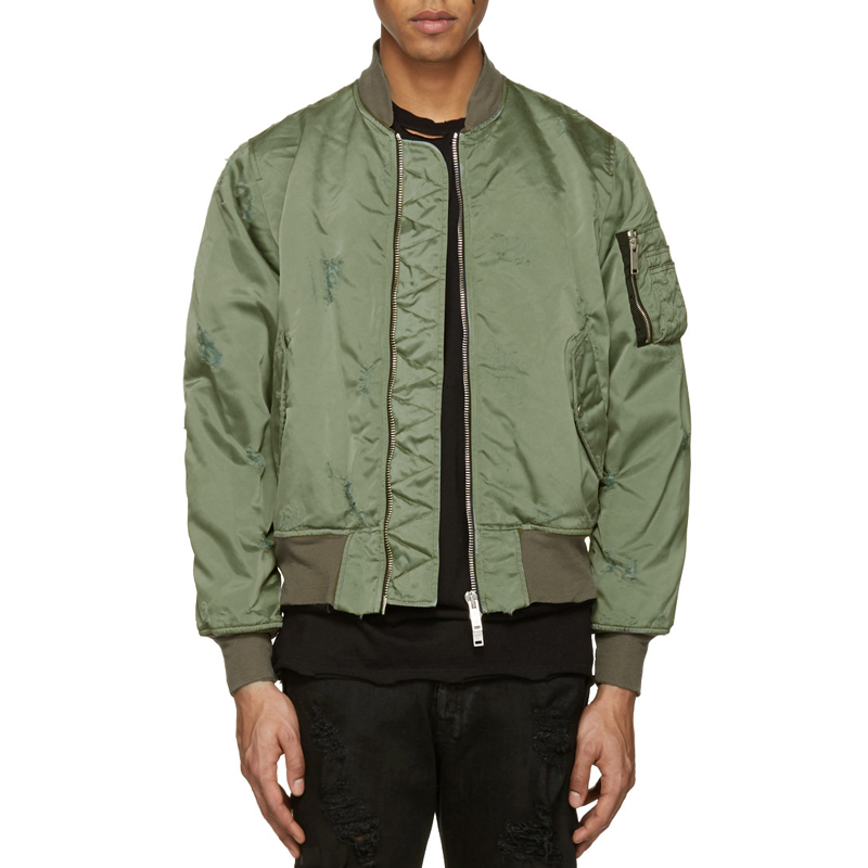 Mens Blank Bomber Jackets with Leg Pocket Wholesale Sateen Green Jacket