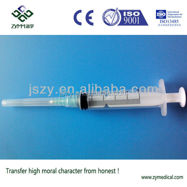 5cc 3-part medical disposable hypodermic syringes with needle