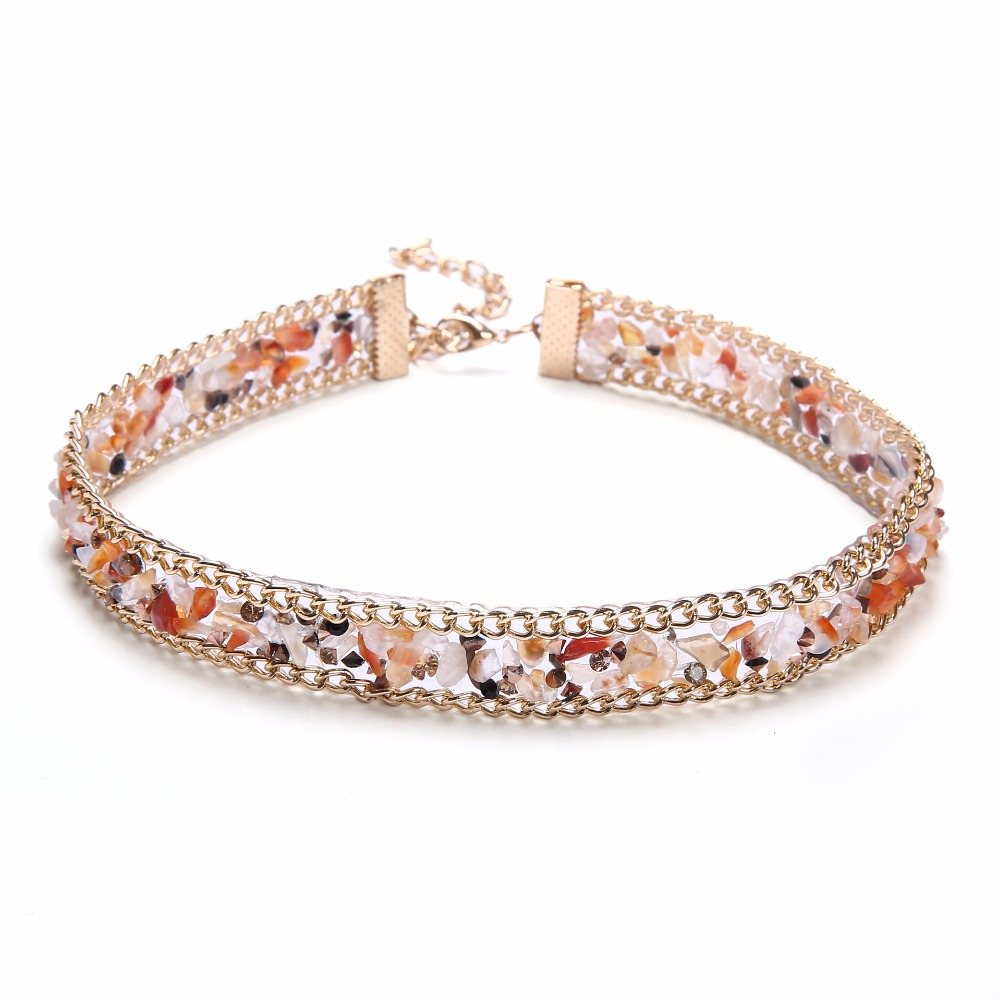 New Design Bohemia Fashion Unique Multicolor Handmade Charms Stone Geometric Collar Choker Necklaces Women
