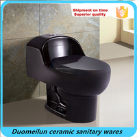 Sanitary Ware Siphonic Black Color One Piece WC Toilet Commode