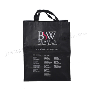 Black plastic non woven carry bag for shoes,clothes