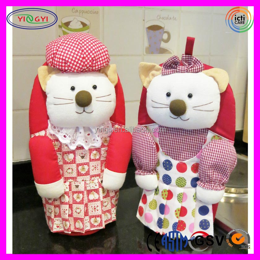A631 Cute Kitty Pussy Cat Chef Plush Doll Gloves Pot Holder Pussy Doll