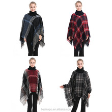 wholesale women knit turtleneck plaid poncho top 10 oversized sweater