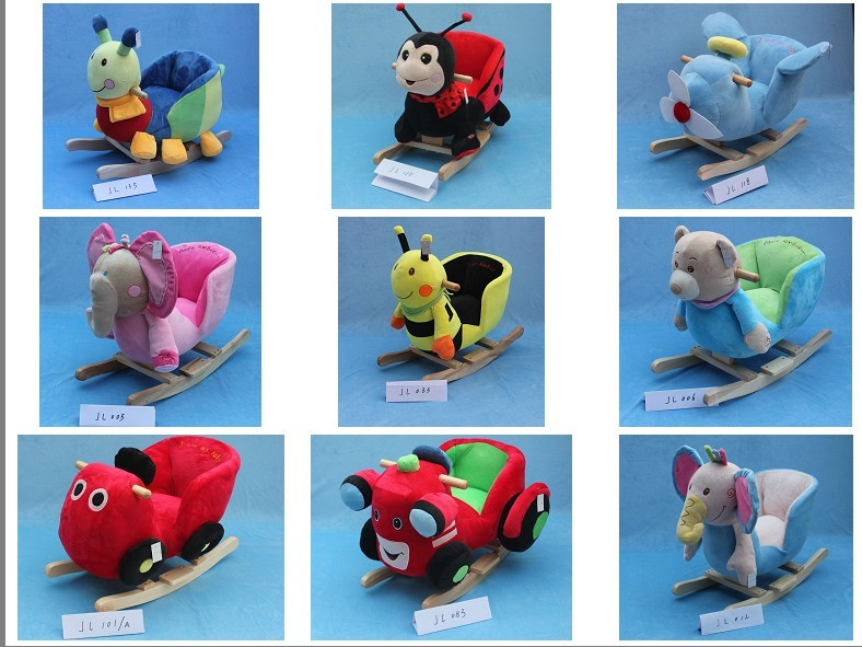 promotional customized all kinds of plush horse animal head sticks with music