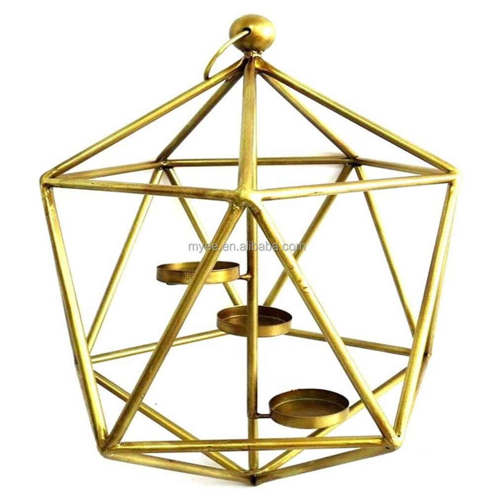 Small Stand Geometric Wrought Rose Gold Metal Geometric Funeral Lantern