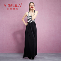 YIGELILA 61228 Latest 2015 Design Womens Long Black White Striped Cross Braces Casual Party Dresses Sale Size 14 Online Shopping