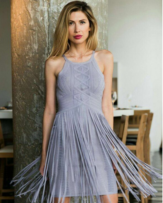 2016 New designer elegant spaghetti strap tassel bandage wedding dress on alibaba wholesales