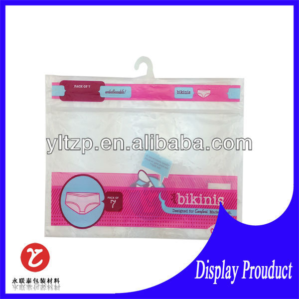 underwear pouch with hanger/ hand hanger plastic clothes bag