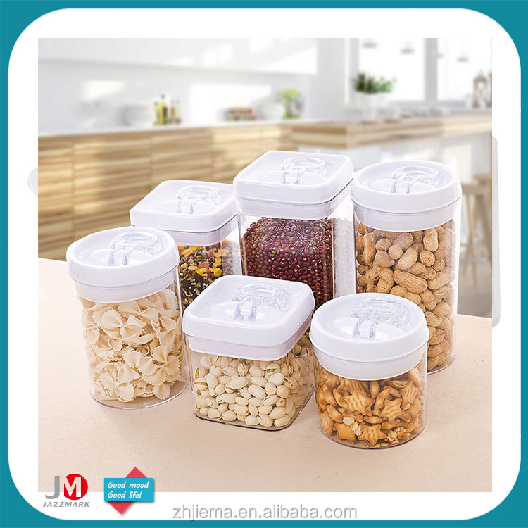 Kitchen accessory plastic seal canister airtight candy cookie plastic jar storage tin plastic food container