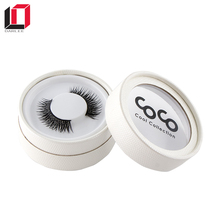 Get 100USD coupon empty custom logo printing round false eyelash packaging box with clear window