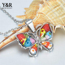 Wholesale High Quality Stainless Steel Multi-color Murano Glass Butterfly Pendant