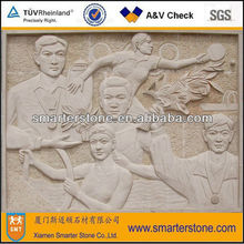 Natural stone sculptural relief