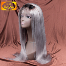 Grade 7A Virgin brazilian grey human hair sew in weave human hair grey lace front wig