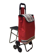 Promotional Folding Shopping trolley bag Trolley Cart With wheels With seat