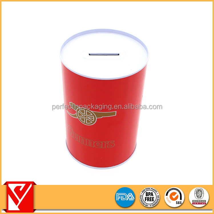 Fancy printing round gift metal tin money box/can for sale