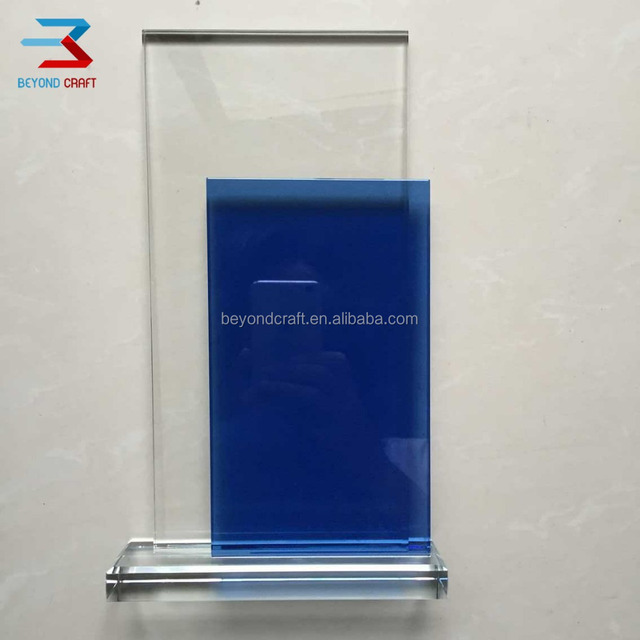 blank crystal blue glass trophy plaque