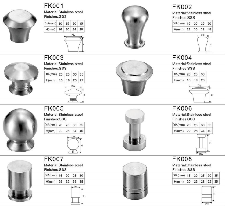 Top quality stainless steel decorative drawer kitchen cabinet pull handle knob