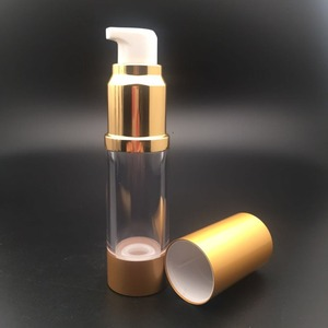 fashioned 10ml 15ml airless round gold pump acrylic cosmetic packaging