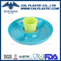 Round plastic serve tray with division