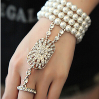 Hot Sale Wedding Bridal Bracelet The Great Gatsby Pearl bracelet Stretch Austrian Cuff Set for Women Wedding hand jewelry XI09